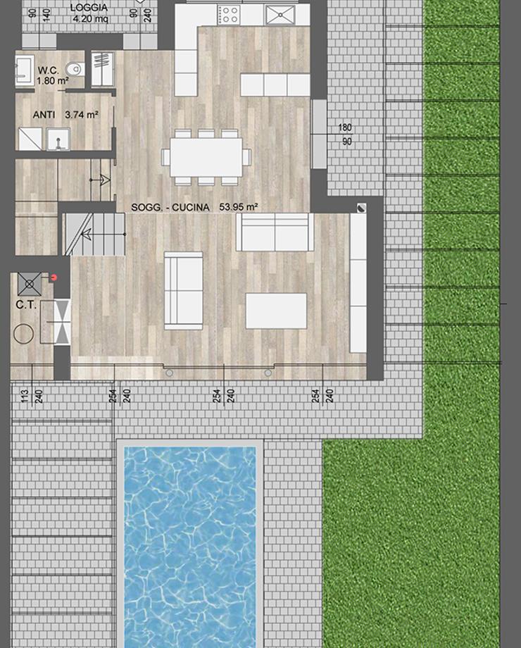 Ville tricamere o quadricamere a Vicenza con 311mq di superficie coperta, giardino, piscina e garage doppio